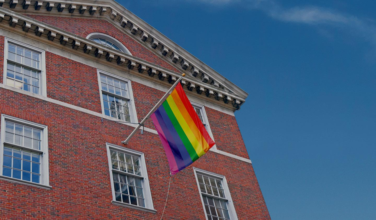 Vanderbilt Hall with a Pride flag