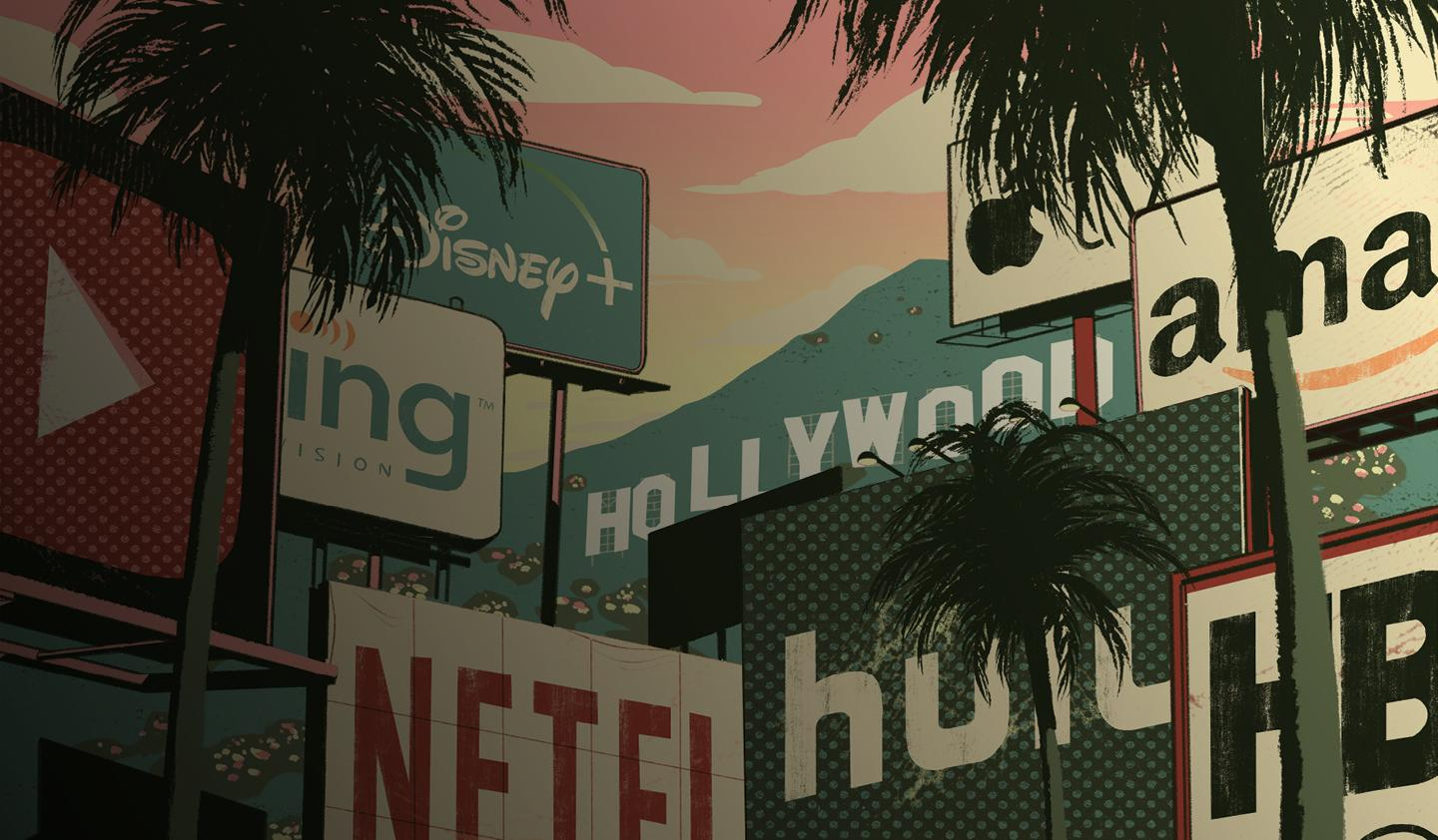 illustration of Netflix, Disney, Hulu, and Apple billboards in the Hollywood hills.