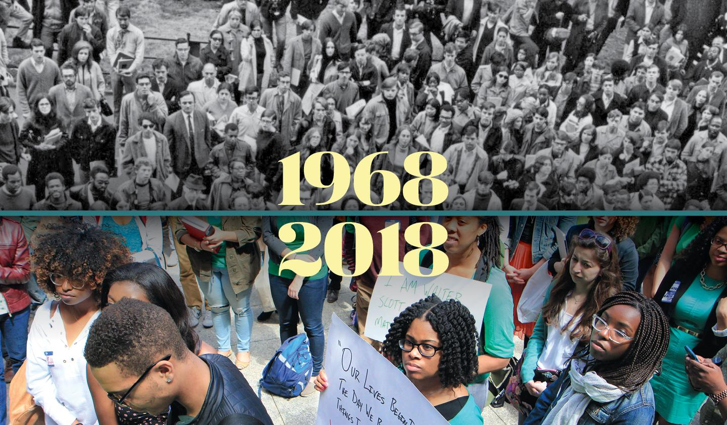 Demonstration in Washington Square Park in 1968, and BALSA demonstration against police violence in 2015.