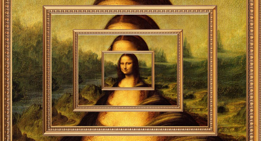 A series of copies of paintings of the Mona Lisa on top of one another