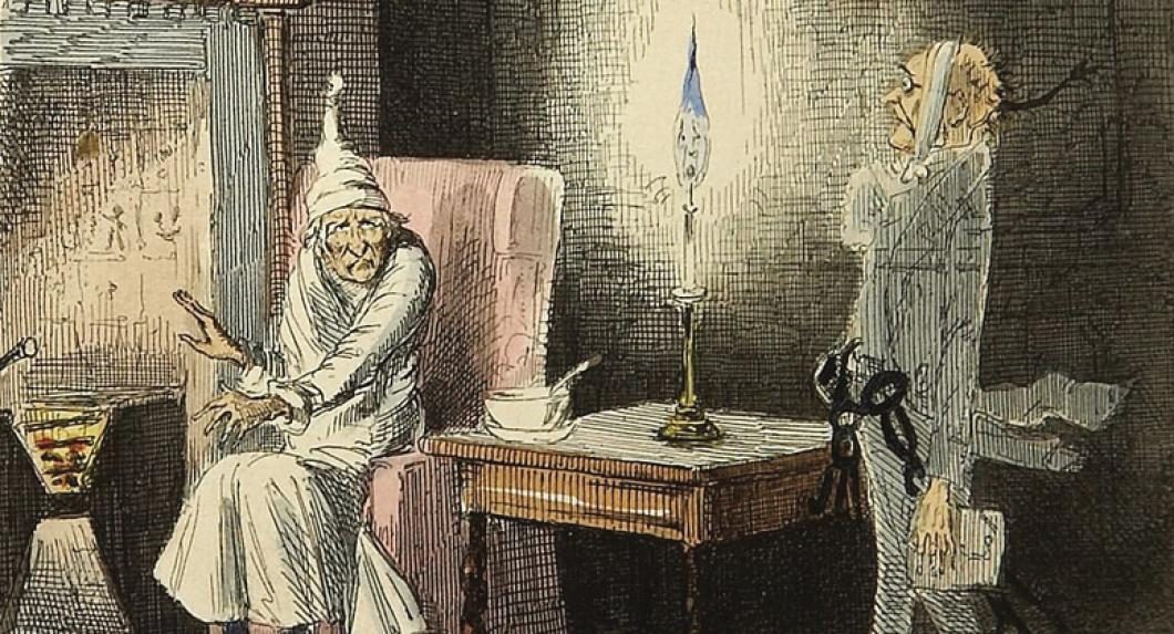 "Original 1843 illustration ""Marley's Ghost"" from A Christmas Carol"