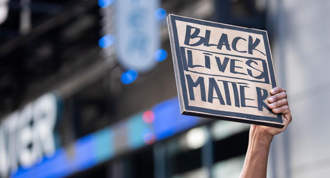 "Protest sign reading ""Black Lives Matter"""
