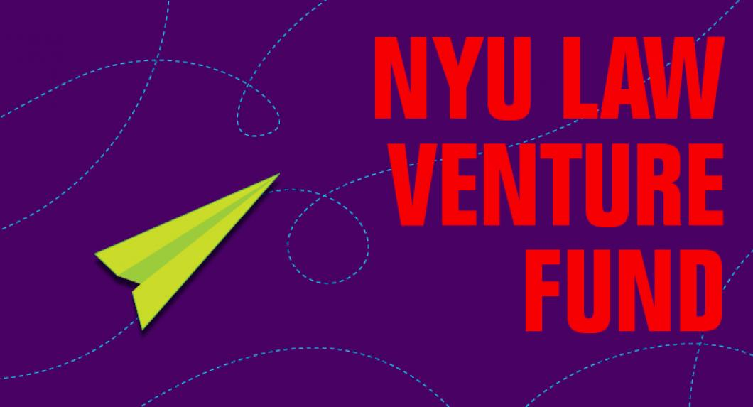 "flying paper plane illustration, says ""NYU Law Venture Fund"""