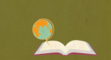 illustration of a book with a globe coming out