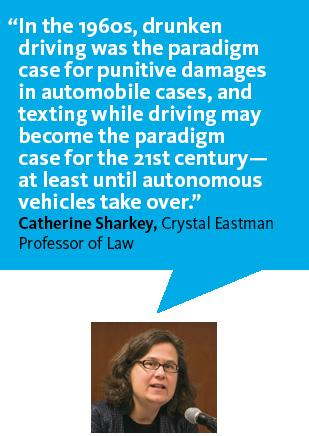 """In the 1960s, drunken driving was the paradigm case for punitive damages in automobile cases, and texting while driving may become the paradigm case for the 21st century--at least until autonomous vehicles take over.""—Professor Catherine Sharkey"
