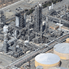 An aerial view of a natural gas processing facility.