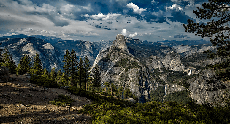A panoramic view of Yosemite Valley within Yosemite National Park.