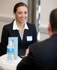A student interviewing with one of the more than 160 leading legal employers who participate in ISIP.